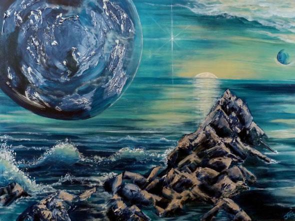 zwei Horizonte,  Acryl auf Leinwand im Keilrahmen 80x60 cm