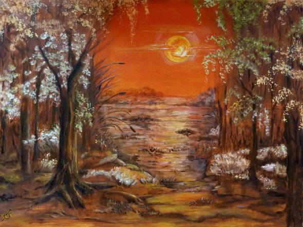 orangefarbener Traumwald.