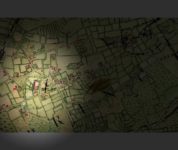 Kaart van 1771-1778 Waar hier Hulst staat aangegeven is in werkelijkheid Schoonhees. Het gehucht Hulst en de kerk is later veel meer naar rechts ontstaan.