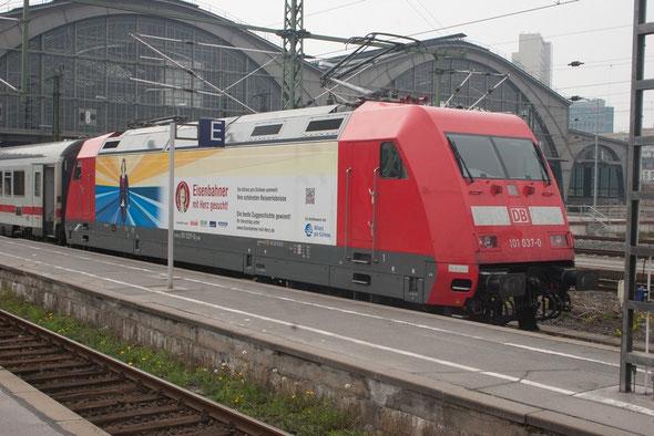 Ankunft von 101 037-0 in Leipzig...