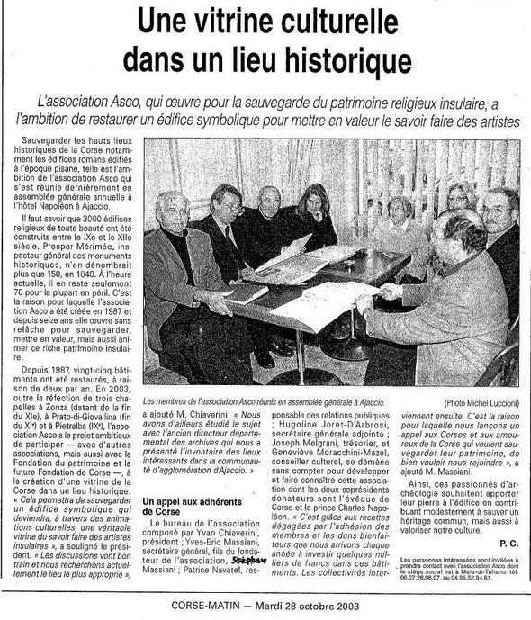 L'association ASCO : une vitrine culturelle dans un lieu historique Corse