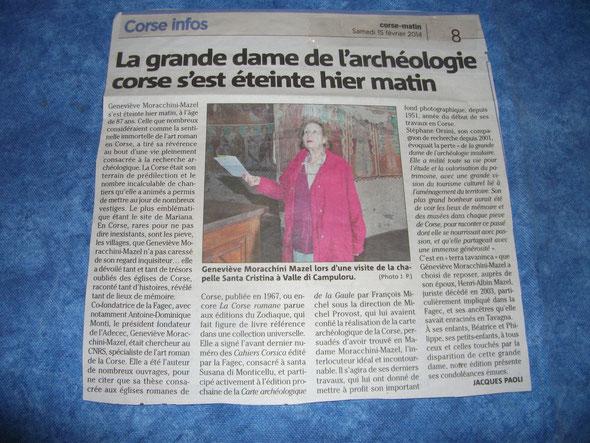 Geneviève Marocchini Mazel ( Corse-Matin)