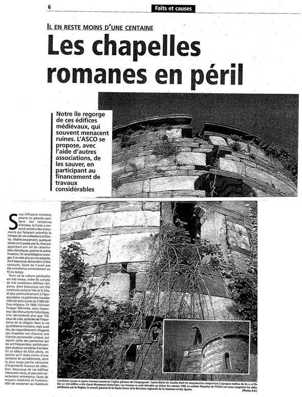 Les chapelles romanes en péril en Corse - L'ASCO participe à la sauvegarde des édifices Romans Corse
