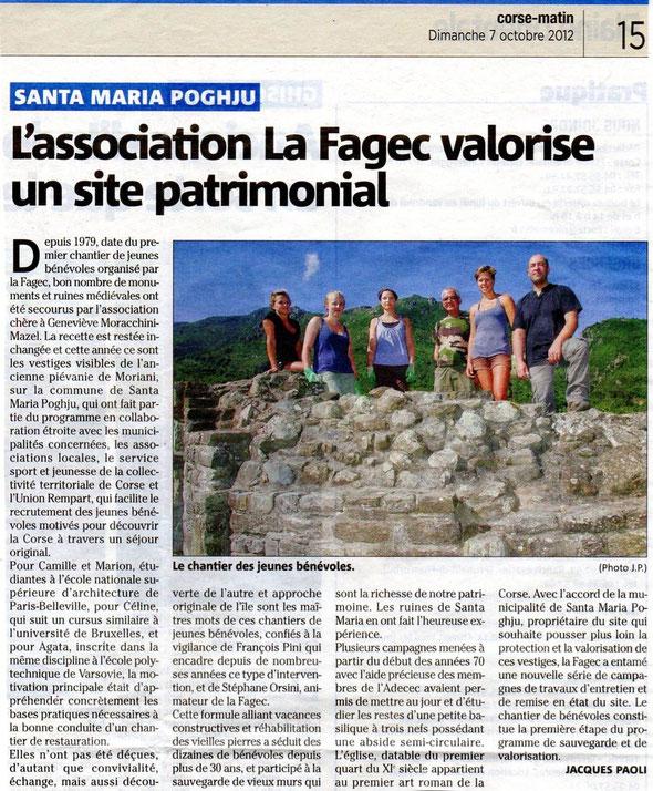L'association la FAGEC valorise un site patrimonial Corse