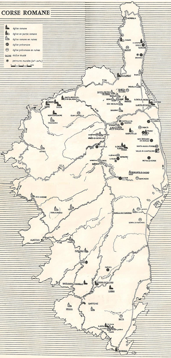 Carte de la Corse Romane