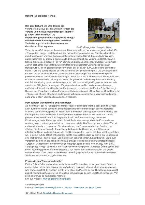 Newsletter freiwillig@zürich vom 26. März 2014