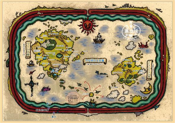 ハチドリたちの情報やプリンゲルの地図をもとに、D.アラキが作製した地図。