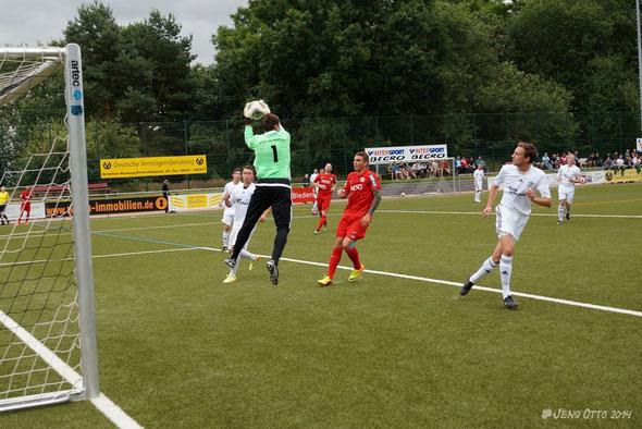 1. Spiel als Schlussmann des FSV Schröck, Neuzugang Patrick Schein