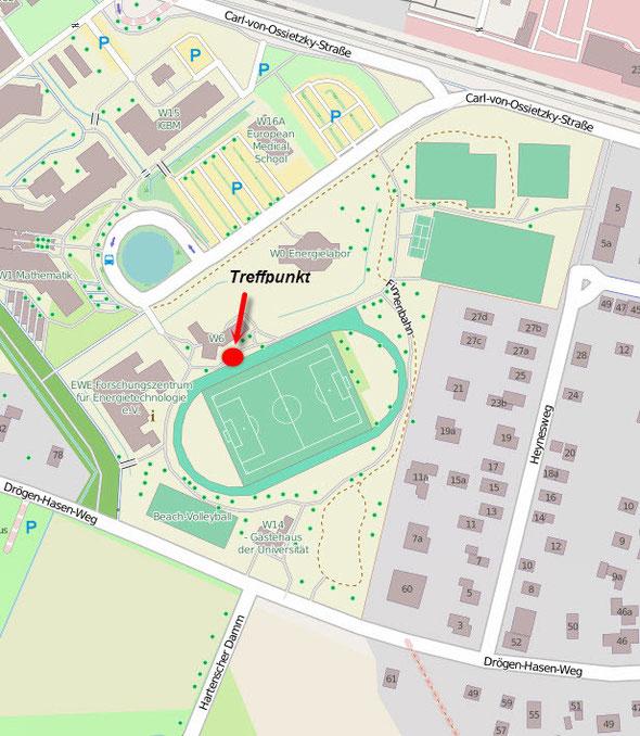 Treffpunkt zum Tempotraining, Unisportplatz in Wechloy, Carl-von-Ossietzky-Straße. Kartenquelle: www.openstreetmap.de