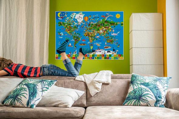 Deine bunte Erde, Weltkarte mit Illustrationen für Kinder