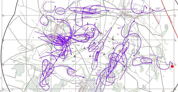 Beispiel einer Arbeitskarte zur Raumnutzungsanalyse der Rohrweihe.