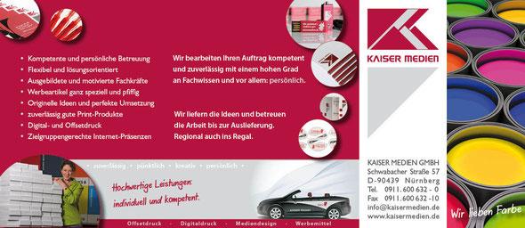Das Bild zeigt einen LangDIN Flyer der Kaiser Medien GmbH.