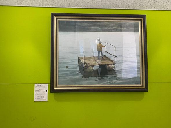 「未明の出発」F50、原太一作 パネルに油彩、第52回昭和会展入選作品 池袋TOBU春の絵画市にて田村先生が買上げて下さいました。