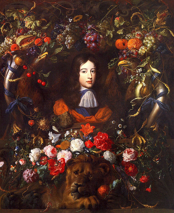 William of Orange im Alter von 10 Jahren mit Blumengirlande (Jan Davidsz. de Heem [Public domain] - fleurs avec portrait guillaume III d'Orange)
