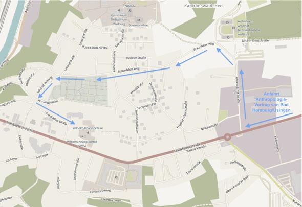 Aus Richtung Bad Homburg folgt man vor demKubacher Kreisel zuerst der ausgeschilderten Umleitung (Johann-Ernst-Straße und Braunfelser Weg) und fährt dann weiter über die Freystädter Straße zur Wilhelm-Knapp-Schule.