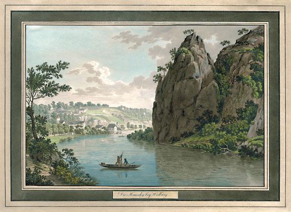 """Die Hausley bei Weilburg, um 1815"", Friedrich Christian Reinermann;  in: Historische Ortsansichten <https://www.lagis-hessen.de/de/subjects/idrec/sn/oa/id/3341>"