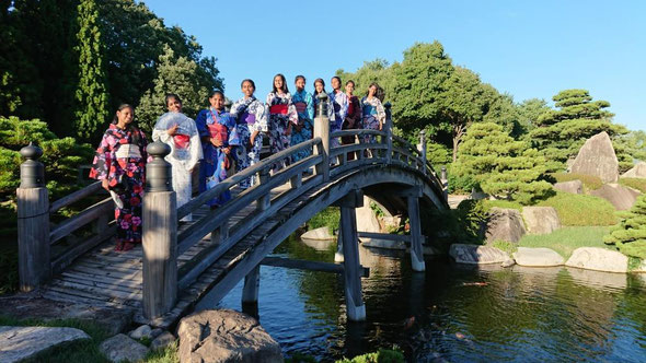 Indian students enjoying Japanese 'YUKATA' & Japanese garden
