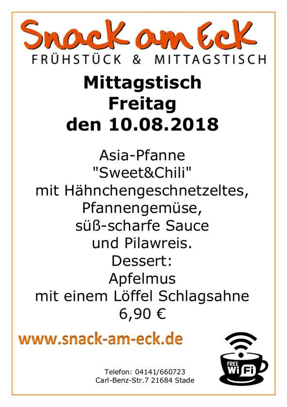 """Mittagstisch am Freitag den 10.08.2018: Asia-Pfanne """"Sweet&Chili"""" mit Hähnchengeschnetzeltes, Pfannengemüse, süß-scharfe Sauce und Pilawreis. Dessert: Apfelmus mit einem Löffel Schlagsahne. 6,90 €"""