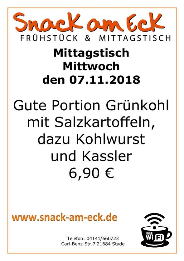 Mittagtisch am Mittwoch den 07.11.2018: Gute Portion Grünkohl mit Salzkartoffeln, dazu Kohlwurst und Kassler 6,90 €