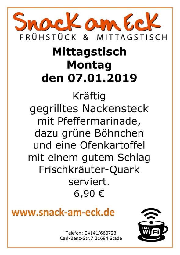 Mittagstisch am Montag den 07.01.2019: Kräftig gegrilltes Nackensteck mit Pfeffermarinade, dazu grüne Böhnchen und eine Ofenkartoffel mit einem gutem Schlag Frischkräuter-Quark serviert. 6,90 €