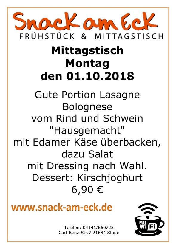 """Mittagstsich am montag den 01.10.2018: Gute Portion Lasagne Bolognese vom  Rind und Schwein """"Hausgemacht"""" mit Edamer Käse überbacken, dazu Salat mit Dressing nach Wahl. Dessert: Kirschjoghurt 6,90 €"""