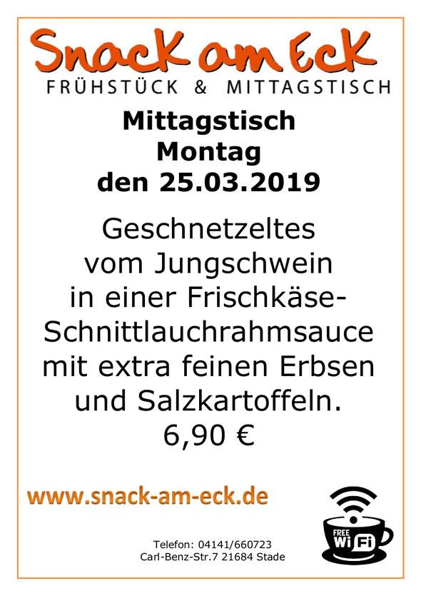 Mittagstisch am Montag den 25.03.2019: Geschnetzeltes vom Jungschwein in einer Frischkäse-Schnittlauchrahmsauce mit extra feinen Erbsen und Salzkartoffeln. 6,90 €