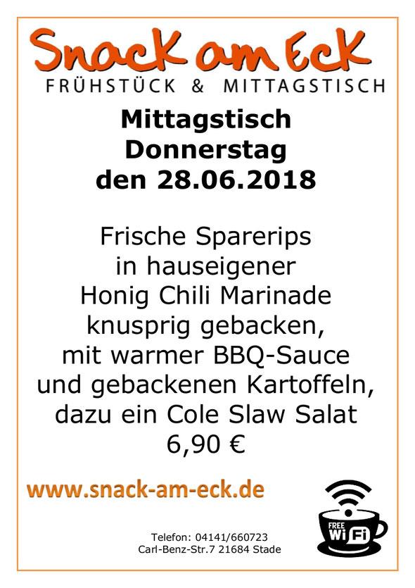 Mitttagstisch am Donnerstag den 28.06.2018: Frische Sparerips in hauseigener Honig Chili Marinade knusprig gebacken, mit warmer BBQ-Sauce und gebackenen Kartoffeln, dazu ein Cole Slaw Salat 6,90 €
