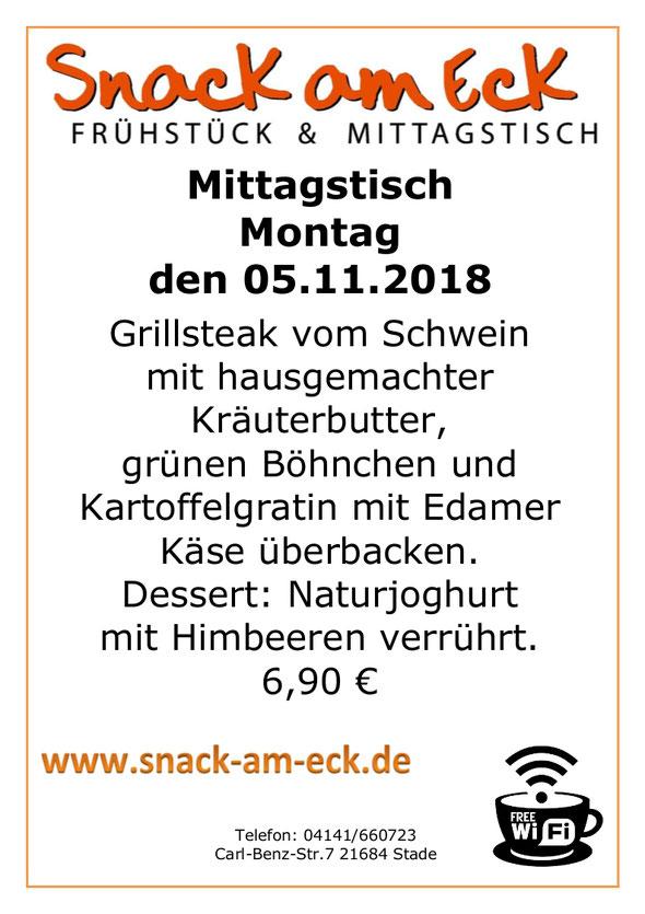 Mittagstisch am Montag den 05.11.2018: Grillsteak vom Schwein mit hausgemachter Kräuterbutter, grünen Böhnchen und Kartoffelgratin mit Edamer Käse überbacken. Dessert, Naturjoghurt mit Himbeeren verrührt. 6,90 €