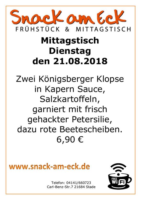 Mittagstisch am Dienstag den 21.08.2018: Zwei Königsberger Klopse in Kapern Sauce, Salzkartoffeln garniert mit frisch gehackter Petersilie, dazu rote Beetescheiben. 6,90 €