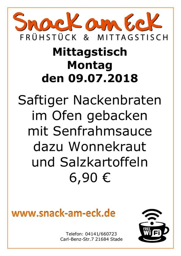 Mittagstisch am Montag den 09.07.2018:  6,90 €