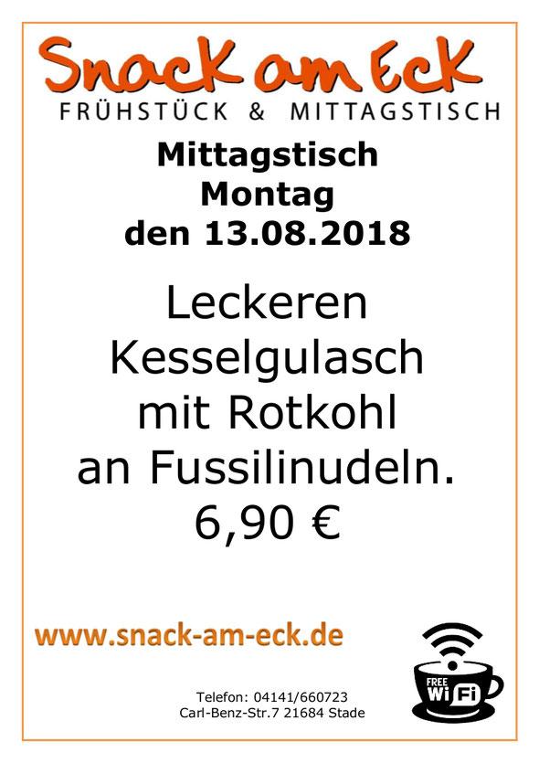 Mittagstisch am Montag den 13.08.2018: Leckeren Kesselgulasch mit Rotkohl an Fussilinudeln. 6,90 €