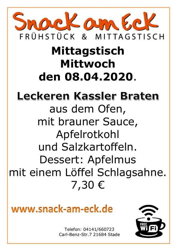 Mittagstisch am Mittwoch den 08.04.2020: Leckeren Kassler Braten aus dem Ofen mit brauner Sauce, Apfelrotkohl und Salzkartoffeln. Dessert: Apfelmus mit einem Löffel Schlagsahne. 7,30 €