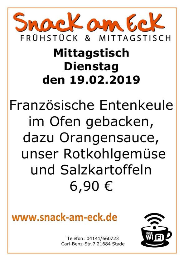 Mittagstisch am 19.02.2019: Französische Entenkeule im Ofen gebacken, dazu Orangensauce dazu unser Rotkohlgemüse und Salzkartoffeln 6,90 €