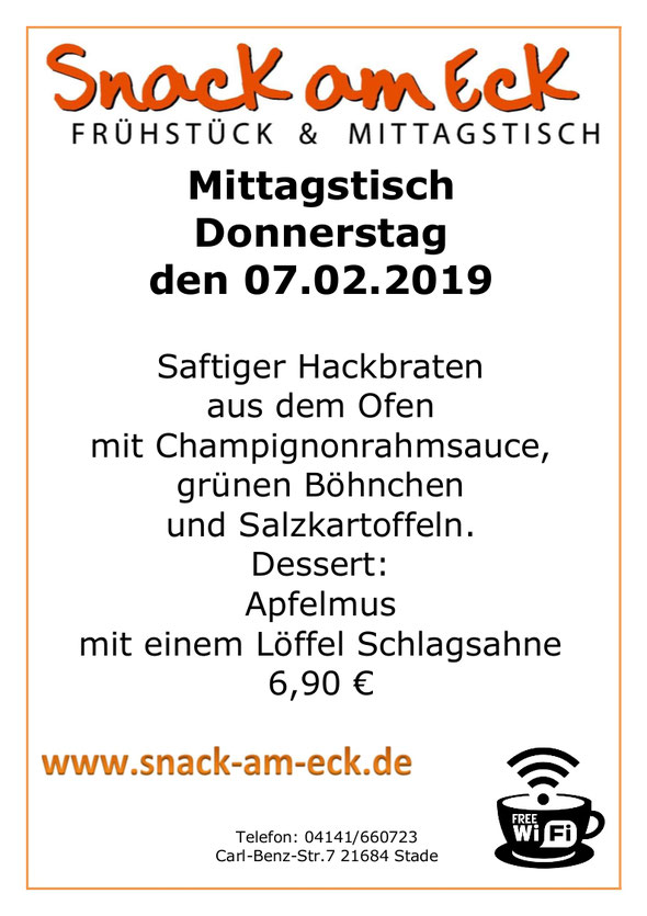 Mittagstisch am Donnerstag den 07.02.2019: Saftiger Hackbraten aus dem Ofen mit Champignonrahmsauce, grünen Böhnchen und Salzkartoffeln. Dessert: Apfelmus mit einem Löffel Schlagsahne 6,90 €