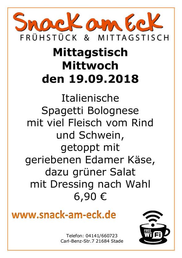 Mittagstisch am Mittwoch den 19.09.2018: Italienische Spagetti Bolognese mit viel Fleisch vom Rind und Schwein, getoppt mit geriebenen Edamer Käse, dazu grüner Salat mit Dressing nach Wahl 6,90 €