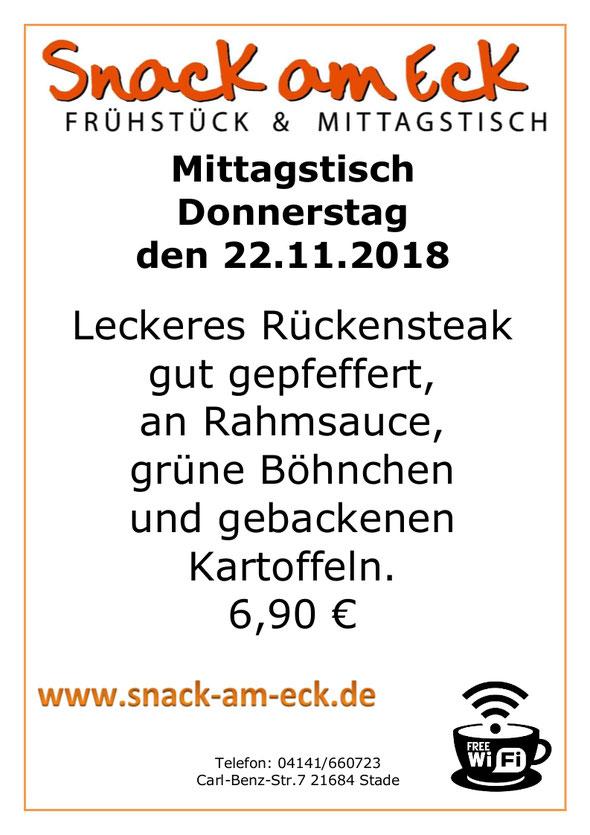 Mittagstisch am Donnerstag den 22.11.2018: Leckeres Rückensteak gut gepfeffert, an Rahmsauce, grüne Böhnchen und gebackenen Kartoffeln. 6,90 €