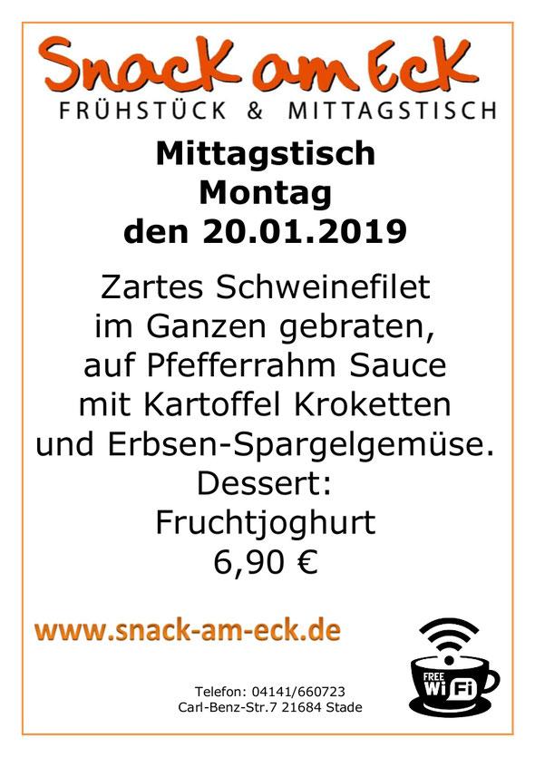 Mittagstisch am Montag den 21.01.2019: Zartes Schweinefilet im Ganzen gebraten, auf Pfefferrahm Sauce mit Kartoffel Kroketten und Erbsen-Spargelgemüse. Dessert. Fruchtjoghurt 6,90 €