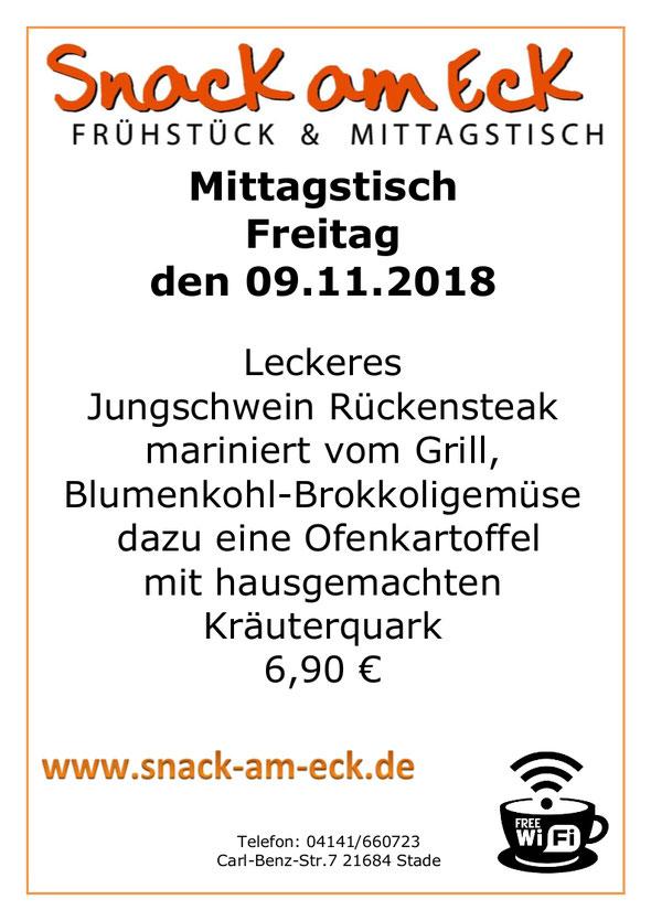 Mittagstisch am Freitag den 09.11.2018: Leckeres Jungschwein Rückensteak vom Grill mariniert mit Blumenkohl- Brokkoligemüse dazu eine Ofenkartoffel mit hausgemachten Kräuterquark  6,90 €
