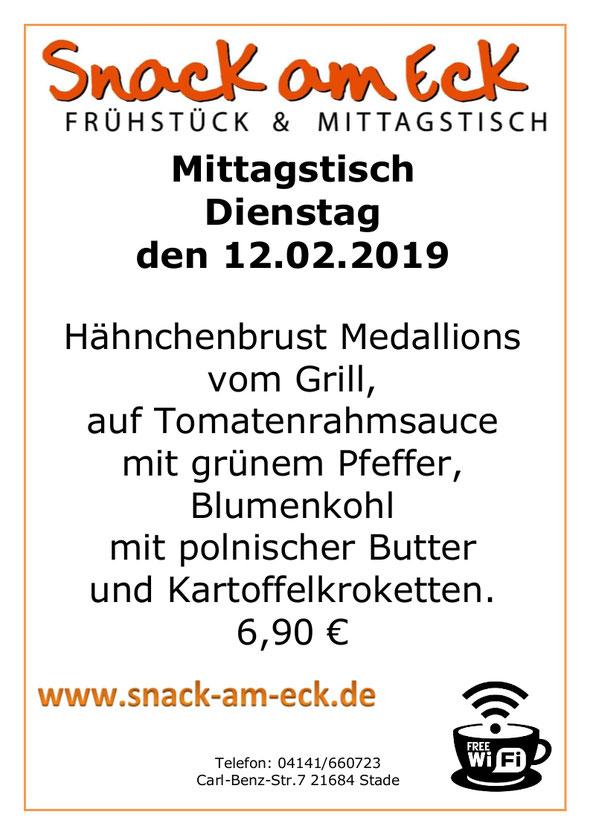Mittagstisch am Freitag den 12.02.2019: Hähnchenbrust Medallions vom Grill, auf Tomatenrahmsauce mit grünem Pfeffer, Blumenkohl mit polnischer Butter und Kartoffelkroketten. 6,90 €