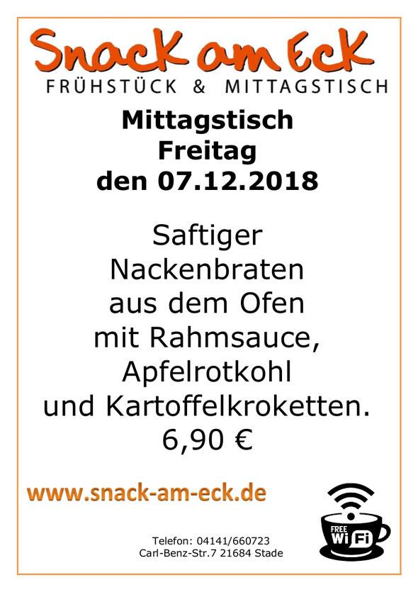 Mittagstisch am Freitag den 07.12.2018: Saftiger Nackenbraten aus dem Ofen mit Rahmsauce, Apfelrotkohl und Kartoffelkroketten. 6,90 €