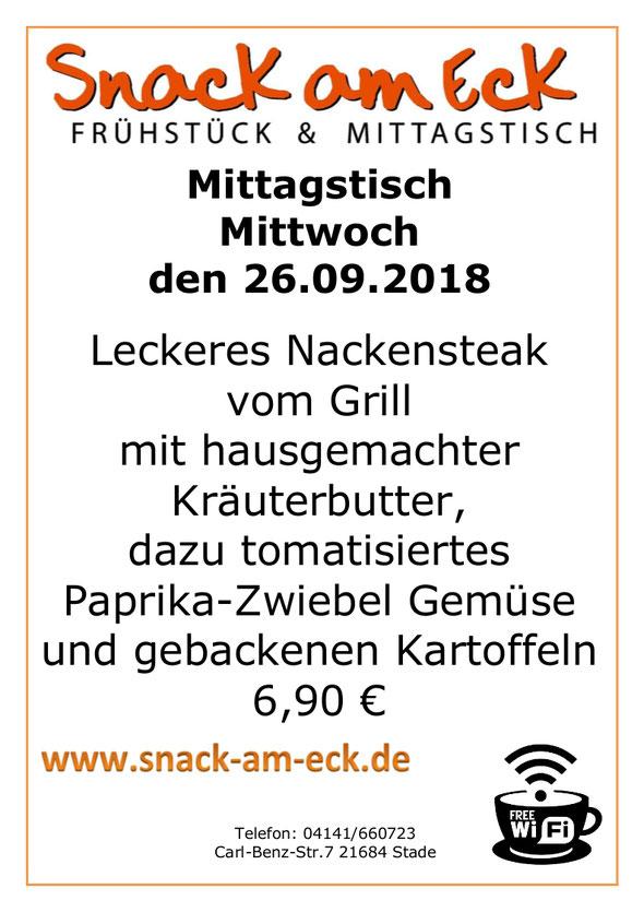 Mittagstisch am Mittwoch den 26.09.2018: Leckeres Nackensteak vom Grill mit hausgemachter Kräuterbutter, dazu tomatisiertes Paprika-Zwiebel Gemüse und gebackenen Kartoffeln 6,90 €