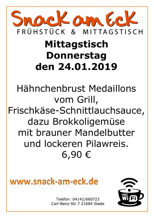 Mittagstisch am Donnerstag den 24.01.2019: Hähnchenbrust Medaillons vom Grill an Frischkäse-Schnittlauchsauce, dazu Brokkoligemüse mit brauner Mandelbutter und lockeren Pilawreis. 6,90 €