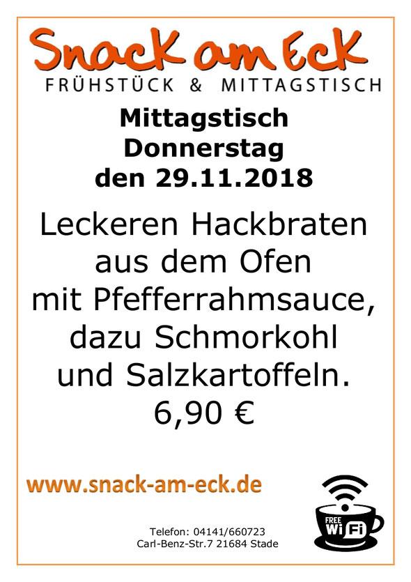 Mittagstisch am Donnertag den 29.11.2018: Leckeren Hackbraten aus den Ofen mit Pfefferrahmsauce, dazu Schmorkohl und Salzkartoffeln. 6,90 €