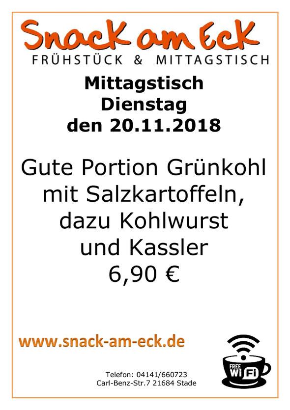 Mittagstisch am Dienstag den 20.11.2018: Gute Portion Grünkohl mit Salzkartoffeln, dazu Kohlwurst und Kassler 6,90 €
