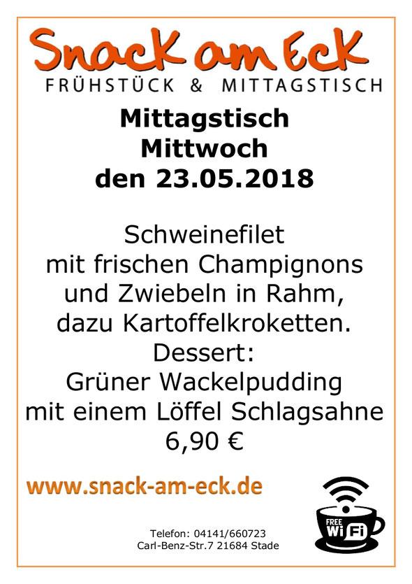 Mitagstisch am Mittwoch den 23.05.2018: Schweinefilet mit frischen Champignons und Zwiebeln in Rahm, dazu Kartoffelkroketten. Dessert: Grüner Wackelpudding mit einem Löffel Schlagsahne 6,90 €