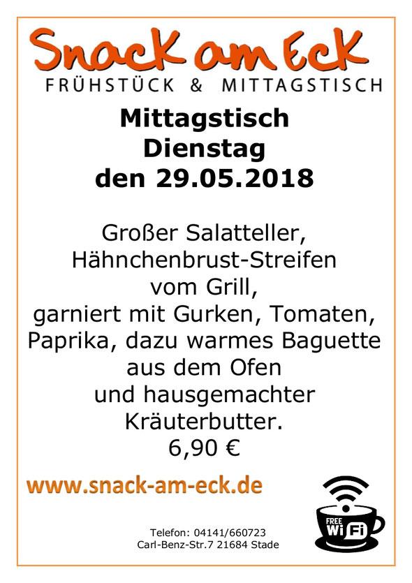 Mittagtisch am Dienstag den 29.05.2018: Großer Salatteller, Hähnchenbrust-Streifen vom Grill, garniert mit Gurken, Tomaten, Paprika, dazu warmes Baguette aus dem Ofen und hausgemachter Kräuterbutter. 6,90 €