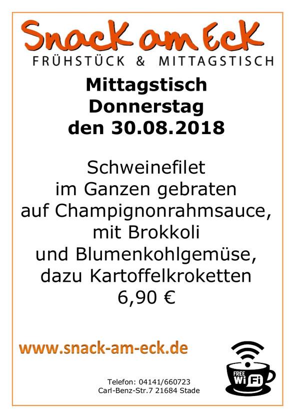 Mittagstisch am Donnerstag den 30.08.2018: Schweinefilet im Ganzen gebraten auf Pfefferrahmsauce, mit Brokkoli und Blumenkohlgemüse, dazu Kartoffelkroketten. 6,90 €