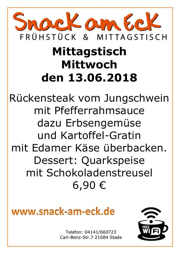 Mittagstisch am Mittwoch den 13.06.2018: Rückensteak vom Jungschwein mit Pfefferrahmsauce dazu Erbsengemüse und  Kartoffel-Gratin mit Edamer Käse überbacken. Dessert: Quarkspeise mit Schokoladenstreusel. 6,90 €