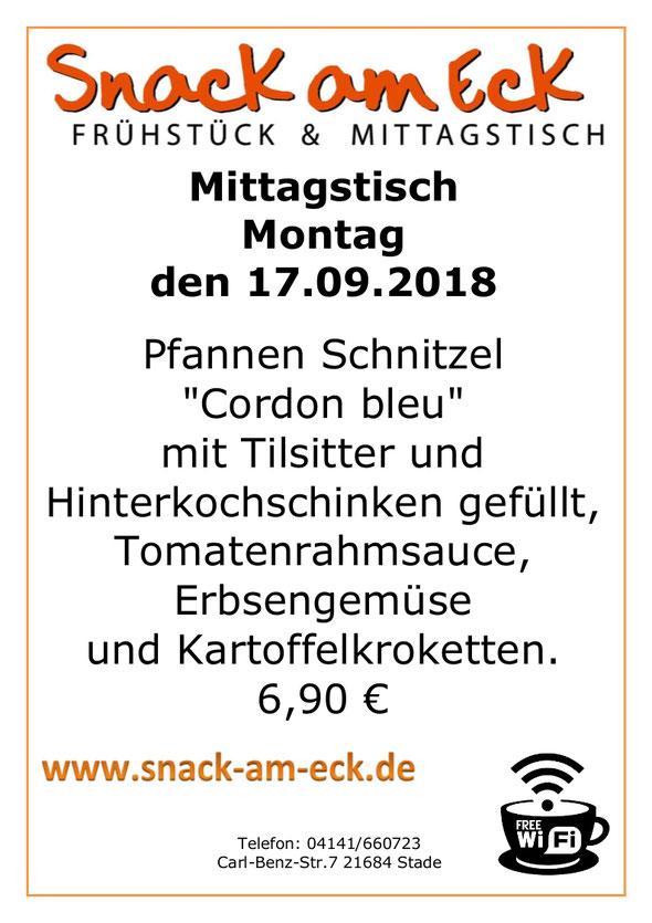 """Mittagstisch am Montag den 17.09.2018: Pfannen Schnitzel """"Cordon bleu"""" mit Tilsitter und Hinterkochschinken gefüllt, Tomatenrahmsauce, Erbsengemüse und Kartoffelkroketten. 6,90€"""