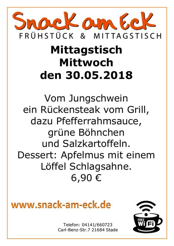 Mittagstisch am Mittwoch den 30.05.2018: Vom Jungschwein ein Rückensteak vom Grill, dazu Pfefferrahmsauce, grüne Böhnchen und Salzkartoffeln. Dessert: Apfelmus mit einem Löffel Schlagsahne. 6,90 €